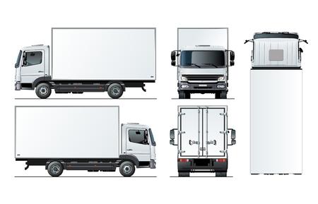 Vektor-LKW-Vorlage lokalisiert auf Weiß für Auto-Branding und Werbung. Verfügbares EPS-10, getrennt durch Gruppen und Ebenen mit Transparenzeffekten für ein Repaint mit einem Klick.