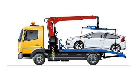 Vector tow truck template isolated on white. Available EPS-10 separated by groups and layers for easy edit Standard-Bild - 109838328