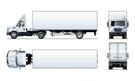 Modello di camion semi di vettore isolato su bianco per auto branding e pubblicità. Disponibile EPS-10 separato da gruppi e livelli con effetti di trasparenza per ridipingere con un clic.