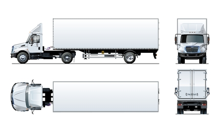 Vector semi truck template isolated on white for car branding and advertising. Available EPS-10 separated by groups and layers with transparency effects for one-click repaint.  イラスト・ベクター素材