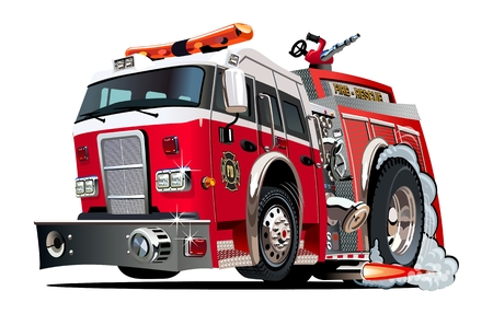 Vector cartoon firetruck. Available EPS-10 vector format separated by groups and layers for easy edit Standard-Bild - 109838331
