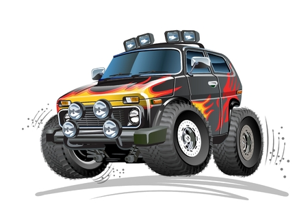Vector Cartoon 4x4 Car. Available EPS-10 vector format separated by groups and layers for easy edit Standard-Bild - 106955547