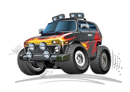 Vector de dibujos animados coche 4 x 4. Formato vectorial EPS-10 disponible separado por grupos y capas para editar fácilmente Ilustración de vector