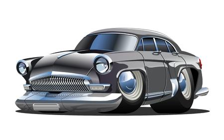 Coche retro de dibujos animados. Formato vectorial eps-10 disponible separado por grupos con efectos de transparencia para repintar con un solo clic Ilustración de vector