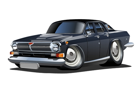 Cartoon retro car. Available eps-10 vector format separated by groups and layers with transparency effects for one-click repaint Standard-Bild - 109838335