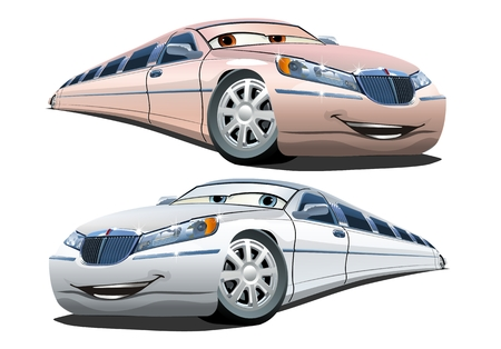 Cartoon limousines isolated on white background. Available EPS-10 vector format separated by groups and layers with transparency effects for one-click repaint