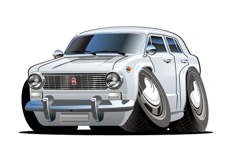 Cartoon retro car. Available eps-10 vector format separated by groups and layers with transparency effects for one-click repaint Standard-Bild - 107423829