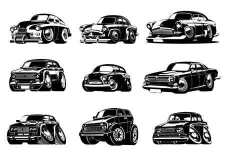 Cartoon Retro Autos Sammlung. Verfügbares eps-8-Vektorformat, das zur einfachen Bearbeitung durch Gruppen getrennt ist
