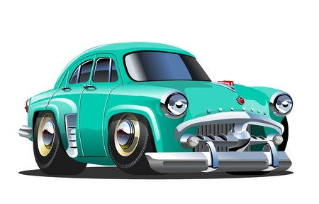 Cartoon retro car. Available eps-10 vector format separated by groups and layers with transparency effects for one-click repaint Standard-Bild - 109838336