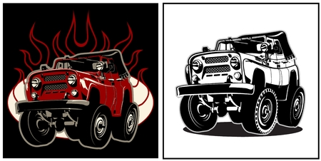 Cartoon off road car. Available EPS-8 vector format separated by groups and layers for easy edit 일러스트
