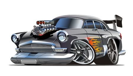 Cartoon retro hot rod isolated on white background. Available eps-10 vector format separated by groups with transparency effects for one-click repaint