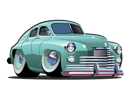Cartoon retro car. Available eps-10 vector format separated by groups and layers with transparency effects for one-click repaint Imagens - 109838339