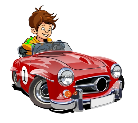 Vector Cartoon retro sport car with kid driver isolated on white. Available EPS-10 separated by groups and layers with transparency effects for one-click repaint Standard-Bild - 109838342
