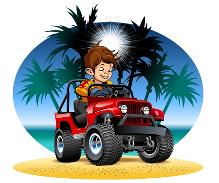 Vector cartoon boy driving 4x4 car on the beach. Available EPS-10 vector format separated by groups and layers Standard-Bild - 109838343