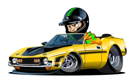Vector Cartoon retro sport car with kid driver isolated on white. Available EPS-10 separated by groups and layers with transparency effects for one-click repaint  イラスト・ベクター素材