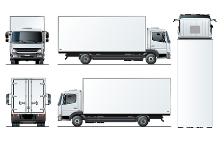 Vector truck template isolated on white for car branding and advertising. Available EPS-10 separated by groups and layers with transparency effects for one-click repaint. Standard-Bild - 109838345