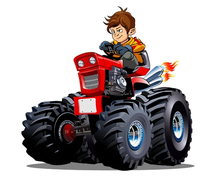 Vector Cartoon Tractor with driver boy. Available EPS-10 vector format separated by groups for easy edit Standard-Bild - 109838346