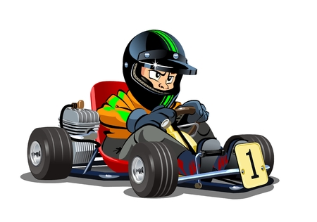 Vector Cartoon cart with kid racer isolated on white. Available EPS-10 separated by groups and layers for easy edit Stock Illustratie