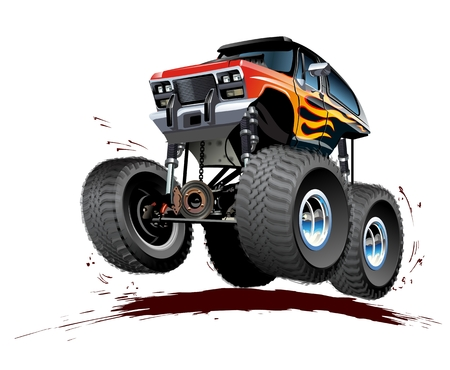 Vector Cartoon Monster Truck. Available EPS-10 separated by groups and layers with transparency effects for one-click repaint. Standard-Bild - 109759420