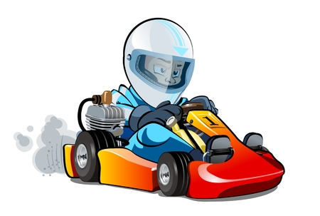 Vector Cartoon cart with kid racer isolated on white. Available EPS-10 separated by groups and layers for easy edit  イラスト・ベクター素材