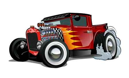 Cartoon retro hot rod isolated on white background. Available EPS-10 vector format separated by groups and layers for easy edit Vettoriali