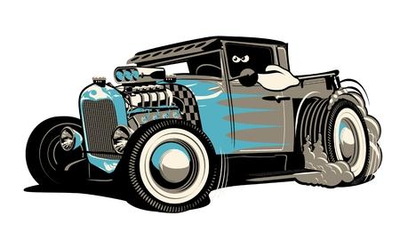 Kreskówka retro hot rod na białym tle. Dostępny format wektorowy EPS-8 oddzielony grupami i warstwami dla łatwej edycji Ilustracje wektorowe