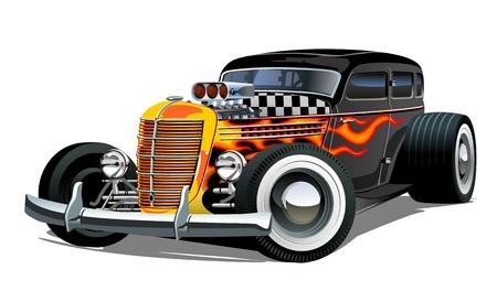 Retro-Hot Rod der Karikatur lokalisiert auf weißem Hintergrund. Verfügbares EPS-10-Vektorformat, das zur einfachen Bearbeitung durch Gruppen und Ebenen getrennt ist