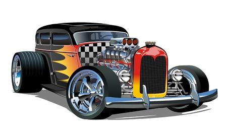 Cartoon retro hot rod geïsoleerd op een witte achtergrond. Vector Illustratie