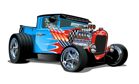 Cartoon retro hot rod isolated on white background. Vettoriali