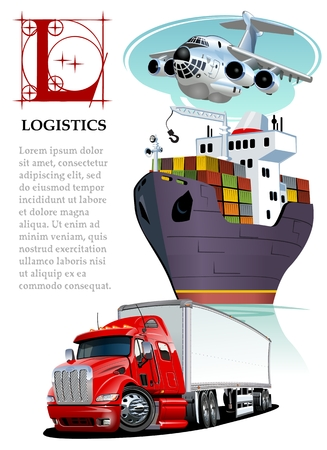 Vector set of cartoon cargo transport. Standard-Bild - 112132651
