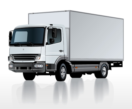 Vector delivery cargo truck template isolated on white. Available EPS-10 separated by groups and layers with transparency effects for one-click repaint Standard-Bild - 110009781
