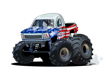 Cartoon Monster Truck. Available EPS-10 separated by groups and layers with transparency effects for one-click repaint Standard-Bild - 112902344