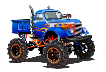 Cartoon-Monster-Truck. Verfügbares EPS-10, getrennt nach Gruppen und Ebenen zur einfachen Bearbeitung Vektorgrafik