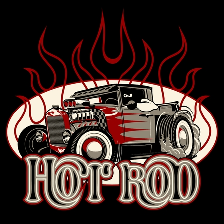 Cartoon retro hot rod poster. Available EPS-8 vector format separated by groups and layers for easy edit
