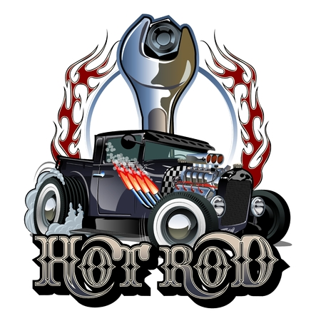 Cartoon retro hot rod poster
