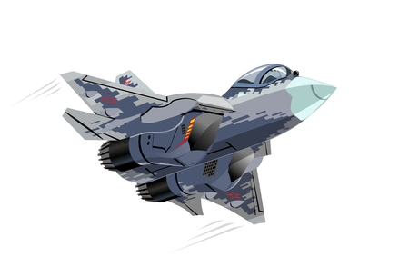 Vector CartoonMilitary Stealth Jet Fighter Plane. Available EPS-10 vector format separated by groups and layers for easy edit