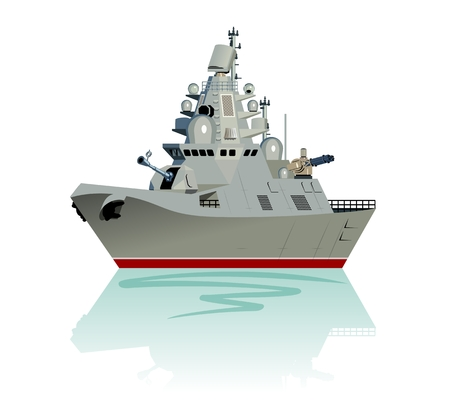 Vector cartoon modern military frigate. Available EPS-10 separated by groups and layers Standard-Bild - 112902350