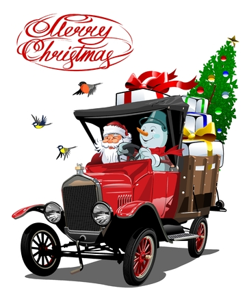 Vector Christmas card with cartoon retro Christmas delivery truck, Santa, Snowman and christmas lettering. Standard-Bild - 112902354