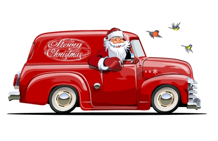 Cartoon retro Christmas delivery van. Available eps-10 vector format separated by groups with transparency effects for one-click repaint Standard-Bild - 112902357