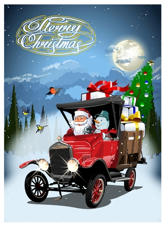 Vector Christmas card with cartoon retro Christmas delivery truck, Santa, Snowman and christmas lettering. Standard-Bild - 112902360