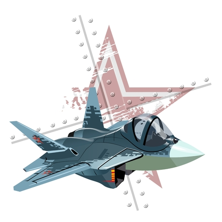Vector Cartoon Fighter Plane. Available EPS-10 vector format separated by groups and layers for easy edit Archivio Fotografico - 112902361
