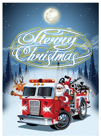 Cartoon retro Christmas poster with firetruck, Santa Claus and Rudolph. Available eps-10 vector format separated by groups and layers for easy edit