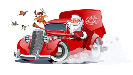 Cartoon retro Christmas delivery van. Available eps-10 vector format separated by groups with transparency effects for one-click repaint