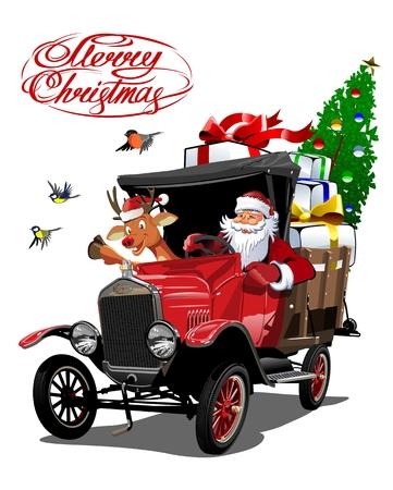 Carte de Noël de vecteur avec dessin animé rétro camion de livraison de Noël, Santa, renne et lettrage de Noël.