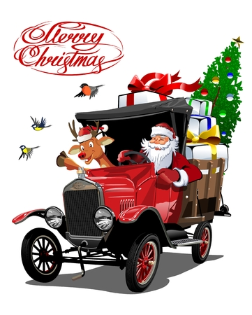 Vector Christmas card with cartoon retro Christmas delivery truck, Santa, reindeer and christmas lettering.