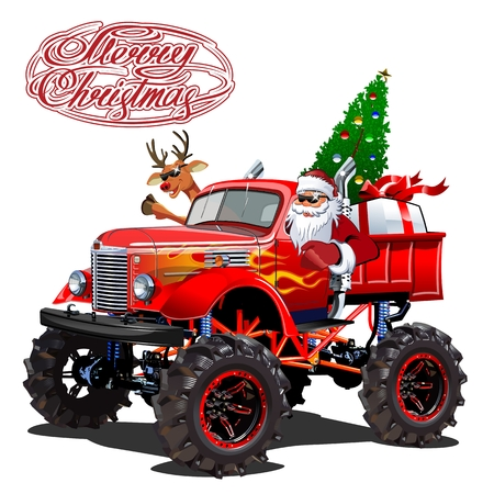 Vector Christmas card with cartoon retro Christmas monstertruck, Santa, reindeer and christmas lettering.