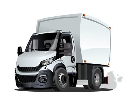 Camion del carico di consegna del fumetto isolato su priorità bassa bianca. Formato vettoriale EPS-10 disponibile separato da gruppi e livelli Vettoriali