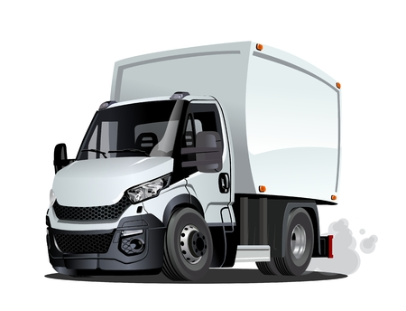 Cartoon delivery cargo truck isolated on white background. Available EPS-10 vector format separated by groups and layers