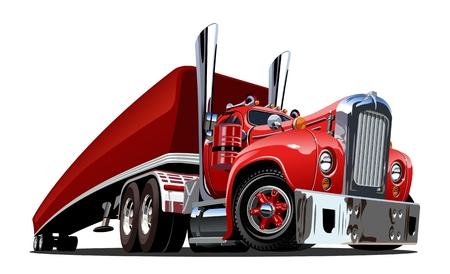 Dibujos animados retro semi camión aislado sobre fondo blanco. Formato vectorial EPS-10 disponible separado por grupos y capas para editar fácilmente Ilustración de vector