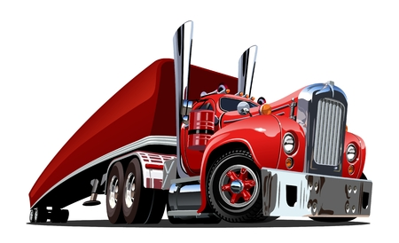 Retro camion dei semi del fumetto isolato su fondo bianco. Formato vettoriale EPS-10 disponibile separato da gruppi e livelli per una facile modifica Vettoriali
